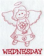 Machine Embroidery Designs at Embroidery Library! - A Days of the Week Redwork Angels Design Pack - Lg