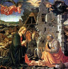МАСТЕР ЛУВРСКОГО РОЖДЕСТВА, Рождество,Работал во Флоренции во 2й пол.XVв.,Дерево,167х167см.Поступила в Лувр в 1812г.