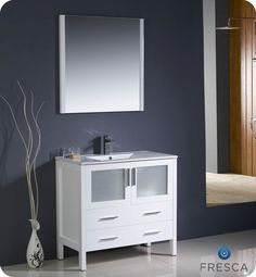 Torino 36 Inch White Modern Bathroom Vanity With Undermount Sink