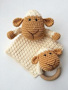 Sheep Lovey and Teether pattern by Monique van Beek Schäfchen Crochet Security Blanket, Crochet Lovey, Crochet Baby Toys, Lovey Blanket, Love Crochet, Crochet Animals, Baby Blanket Crochet, Crochet Dolls, Diy Crochet