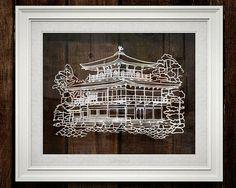 Kyoto golden pavilion papercut art decor Kyoto Japan