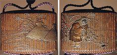 "Case (Inrô) with a Fox from the Kyôgen Play ""The Fox Hunter"" (Tsurigitsune) (obverse); Haystacks and Stream from the Kyôgen Play ""Hakuzosu"" (reverse)  Shibata Zeshin (Japanese, 1807–1891)  Period: Meiji period (1868–1912) Date: 19th century Culture: Japan Medium: Gold and colored lacquer on wood Signed: Zeshin Ojime: carved wooden dragon (signed: Ichiryûsai Furuta) Netsuke: ceramic figure of Kaduzôsu (signed: Eiraku)"
