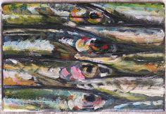 Sardinen Öl auf Holz. effage