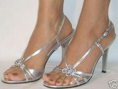 Silver Strappy mid-heels