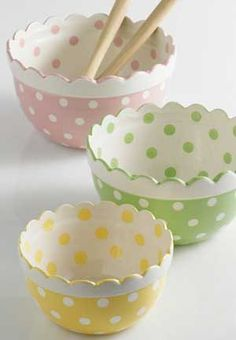 Completely adorable pastel hued polka dot mixing bowls.