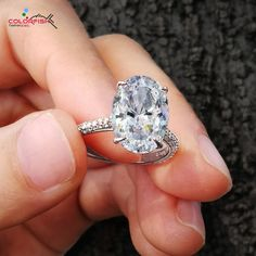 e47f7b8d1 COLORFISH Luxury 5 Carat Oval Cut 925 Sterling Silver Rings For Women Big  Stone Solitaire Engagement