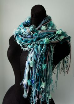 Fringe Scarf, Knotted scarf, Shades of Teal, Gray and Black, Scarf Photo Prop. $25.00, via Etsy.