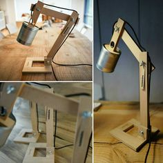 1 of 50 lamps custom made for an advertising agency. square base made of wood, recycled tin tomato and black textile cable.