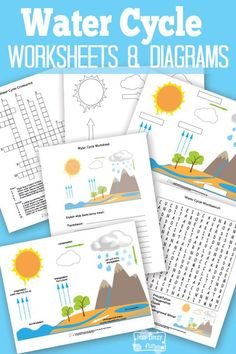 Water Cycle Worksheets and Diagrams - Free Printable Water Cycle Craft, Water Cycle For Kids, Water Cycle Project, Water Cycle Activities, Science Activities, Activities For Kids, Water Cycle Worksheets, Weather Activities, Science Classroom