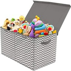 Sorbus Toy Chest with Flip Top Lid Kids Collapsible Storage for Nursery Playroom Closet Home Organization Large Pattern Chevron Gray Toy Storage Bench, Fabric Storage Boxes, Bedside Storage, Nursery Storage, Storage Bins, Storage Chest, Storage Ideas, Plastic Storage, Playroom Closet