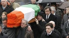 Actor Stephen Rea, centre right,  walks behind the coffin of his ex-wife, Dolours Price at her funeral in west Belfast, Northern Ireland, Monday, January, 28, 2013. Price, an Irish Republican Army veteran who accused Sinn Fein party chief Gerry Adams of involvement in IRA killings and bombings  died on Wednesday, at her home in Malahide, north of Dublin, possibly the result of a drug overdose and foul play was not suspected. But it could have implications as far away as the U.S. Supreme…