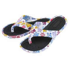 Make a scene! Form-fitted, textured grip footbed and soles make our Rainbow of Paws Flip Flop extra comfy and sets them apart while the splashy paw prints give them eye-candy appeal. Fashionable for the beach or wherever life takes you!