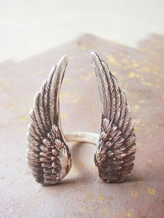 Large Sterling Silver Angel Wing Ring Made to by JennKoDesign, $155.00