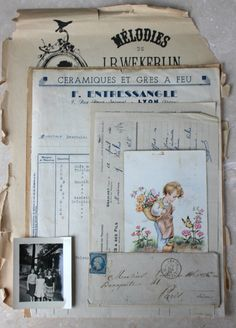 France Ephemera 1903 Children under the snow Authentic french vintage postcard with stamp