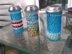 Easy faux mosaic - hot glue colored flat gem stones onto cheap glass vases to make garden lanterns. Cheap Glass Vases, Glass Jars, Glass Glue, Garden Balls, Garden Lanterns, Bottle Lights, Bottle Vase, My Secret Garden, Solar Lights