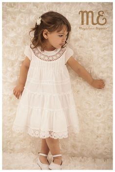 LOVE that round lace insertion around neckline. Looks like a pretty simple A-line dress to sew for a little girl, then add lace to hem and lace insertion to neckline. Baby Girl Dresses, Baby Dress, Cute Dresses, Flower Girl Dresses, Toddler Dress, Toddler Outfits, Kids Outfits, Little Girl Outfits, Little Girl Dresses