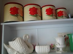 tins & crown lynn Love it! Mid Century Design, Vintage Love, Kitchen Inspiration, Tins, Photo Studio, Swan, Give It To Me, Objects, Pottery