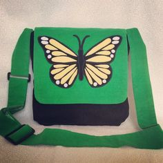 Butterfly bag/ corduroy green and black messenger bag by BohoRain