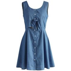Chicwish A Date with Chambray Cutout Dress (3.255 RUB) ❤ liked on Polyvore featuring dresses, blue, ruched dresses, lined dress, blue dress, button up dress and blue cutout dress