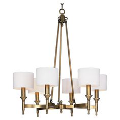 Natural aged brass-finished chandelier with candle-inspired lights and fabric drum shades.   Product: ChandelierCon...