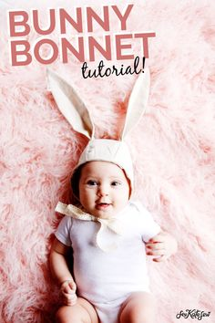 DIY Baby Bunny Bonnet Sewing Tutorials, Sewing Projects, Sewing Patterns, Hat Patterns, Sewing Ideas, Beginners Sewing, Baby Sewing, Free Sewing, Baby Bonnets