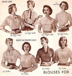 A variety of blouses and tops from 1957. ***I'm pinning this because the brief 40's/50's history in the article is interesting.