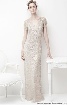 Jenny Packham champagne column wedding dress with a V-neck