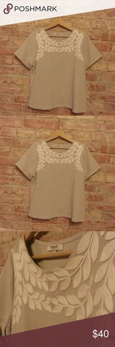 RARE Madewell Ivy Embroidered Tee EUC *Available December 22 - currently in Europe!* Like new!! This hard to find Madewell tee is a gorgeous top for all occasions. It's a heavier, linen-type fabric in a warm gray with beautiful ivory/off-white embroidery in an ivy pattern. Boxy fit. No signs of wear, just a bit creased from storage. Madewell Tops Tees - Short Sleeve