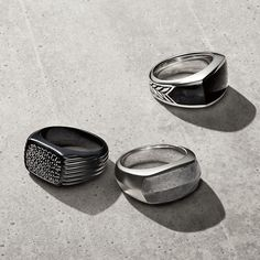 Signet rings combine classic style and innovative materials. Can't wait for the hubs to receive his!