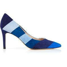 L.K. Bennett Avie Patchwork Court Shoe ($355) ❤ liked on Polyvore featuring shoes, pumps, blue, blue leather pumps, leather shoes, pointed toe pumps, l.k. bennett shoes and blue high heel shoes