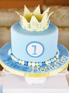 Royally Sweet Little Prince Birthday Party // Hostess with the Mostess® Prince Birthday Theme, 1st Birthday Cakes, Baby First Birthday, Boy Birthday Parties, King Birthday, Princess Birthday, Birthday Ideas, Little Prince Party, Prince Cake