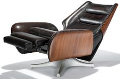 Raymond Loewy - Raymond Loewy - Fauteuil de Relaxation - Bois et Cuir - Barcalounger - 1966