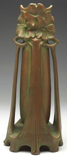 Art Nouveau Vase, Manufactured by Bernard Bloch, designed by Georg Klimt. Terra cotta with green wash. Signature 'Georg Klimt' molded on side, 13 inches high. www.treadwaygallery.com
