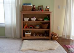 Beautiful toy shelf with natural toys