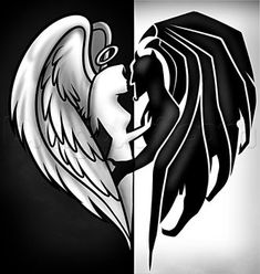 Good And Evil Angel Tattoos – Tattoo Ideas Couple Drawings, Love Drawings, Easy Drawings, Cool Tattoo Drawings, Evil Angel, Angel And Devil, Good And Evil Tattoos, Tattoo Casal, Demon Drawings