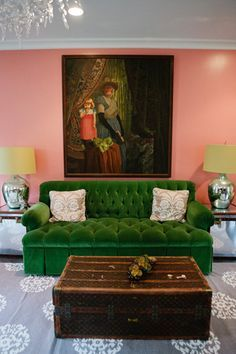 Green velvet tufted sofa and vintage LV trunk. Bailey McCarthy Interiors Interior design | Interior design ideas | Decorating ideas | House interior design | Furniture | Contemporary | Modern | Interior design projects | Decor | Decorating |