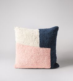 Purcell Scandi Style, 100% Cotton Tufted Cushion in Pink, Navy & Cream | Swoon