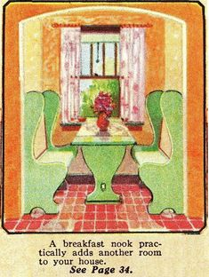 Montgomery Wards offered nooks in their kit homes, too. This photo came from the Montgomery Wards Building Materials catalog. 1930s Kitchen, Vintage Kitchen, Craftsman Interior, Craftsman Homes, Kitchen Nook, Kitchen Ideas, Kitchen Tables, Cottage Kitchens, Cozy Cottage