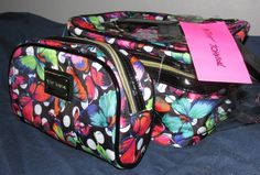 NWT - Betsey Johnson Train Case Set with Butterflies & Polka Dots. Starting at $1