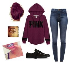 """""""Pink!"""" by aniyahg ❤ liked on Polyvore featuring J Brand, Victoria's Secret and Converse"""