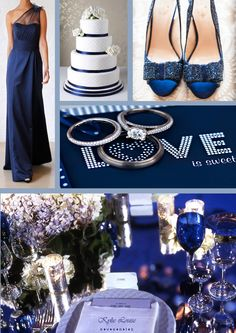 Navy Blue Wedding. navy wedding shoes. navy blue table setting. white and navy blue wedding cake. navy blue gown. navy blue bridesmaid dress. http://kylielouiseevents.com.au/