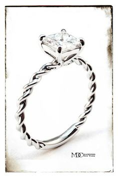 Princess Diamond Woven Solitaire Rope Engagement Ring