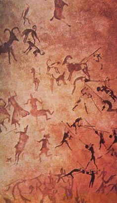 Rock art from Tassili'n'Ajjer, deep into today's Algerian Sahara. Ancient History, Art History, Motifs Islamiques, Art Pariétal, Paleolithic Art, Stone Age Art, Cave Drawings, Horse Drawings, Art Ancien