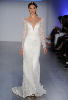 Lace Sheath with Scalloped Neckline | Jim Hjelm Wedding Dresses Spring 2015 | Kurt Wilberding | blog.theknot.com