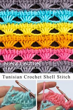 Tunisian Crochet Shell Stitch - Naztazia ® Here's an interesting shell stitch made with Tunisian crochet. It creates a nice crochet shell stitch that has a unique look to it! Crochet Pattern Free, Tunisian Crochet Patterns, Crochet Fabric, Crochet Afghans, Tunisian Crochet Blanket, Crochet Granny, Knitting Patterns, Afghan Stitch, Crochet Shell Stitch