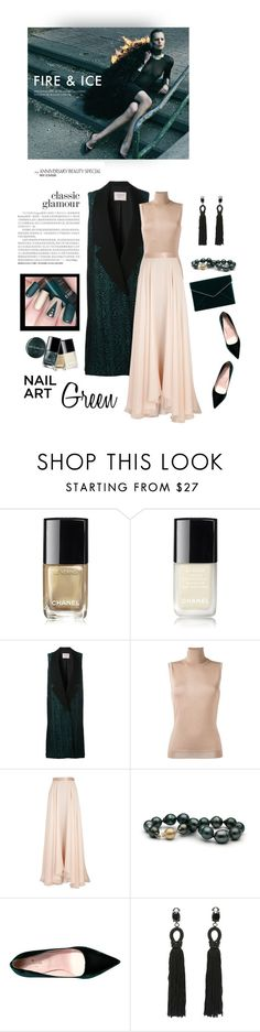 """""""Green and nude"""" by iriadna ❤ liked on Polyvore featuring beauty, Chanel, Lanvin, Kate Spade, Oscar de la Renta, Rebecca Minkoff and nailedit"""