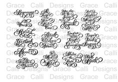 Handlettered Flourished Wedding SVG Phrases