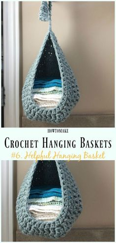 Crochet Helpful Hanging Basket Free Pattern- Hanging Free Patterns Hanging Basket Free Crochet Patterns: Crochet Toy Organizer Hanging Basket, Bathroom Towel Hanging Basket Organization, plants, school supply, makeup hanging baskets and Crochet Diy, Beau Crochet, Crochet Simple, Crochet Storage, Crochet Motifs, Crochet Gifts, Crochet Stitches, Crochet Bags, Crochet Ideas