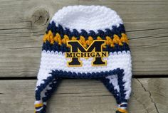 Handmade Newborn University of Michigan Earflap by LayneCouture 84e4f7e8f20c