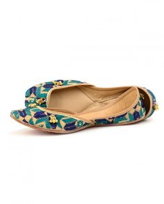 Turquoise and Royal Blue Phulkari Jutties by Needle Dust Shop Now